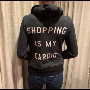 "Wildfox grey ""shopping is my cardio"" hoodie"
